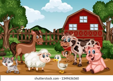 Cartoon Farm Scene with a Barn and Different Farm Animals. Funny Vector  Illustration with Horse, Nightingale, Sheep, Cow, Pig, Duck, Cat and Duck Standing in front of Fence and Shed
