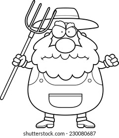 A cartoon farmer with an angry expression.