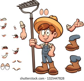 Cartoon farmer boy with different body parts clip art. Vector illustration with simple gradients. Some elements on separate layers.