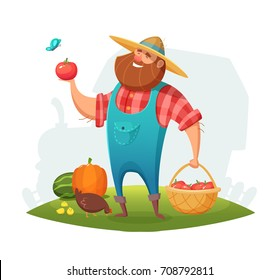 Cartoon farmer character design. rancher holding a basket of vegetables in his hand. Vector illustration.