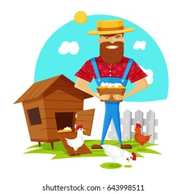 Cartoon farmer with chicken eggs, chicken house, vector illustration