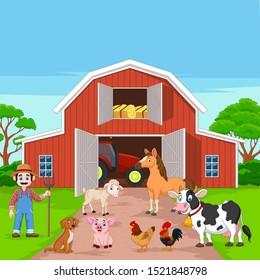 Cartoon farmer and farm animals in the barnyard