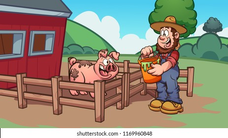 Cartoon farmer feeding a pig. Vector clip art illustration with simple gradients. Some elements on separate layers.
