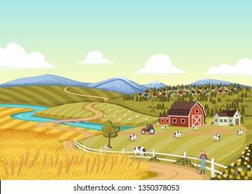 Cartoon farmer in front of colorful farm with barn, crops and cows.