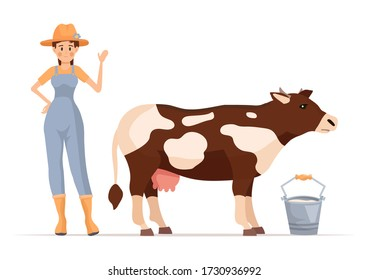 Cartoon farmer girl character with cow vector illustration isolated on white background. Worker and domestic animal.