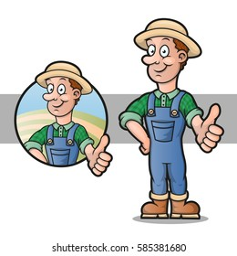 A cartoon farmer holding thumbs up, vector illustration