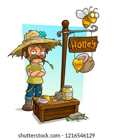 Cartoon farmer in straw hat character and sweet honey vendor booth or shop market with text sign. Vector icon for game.