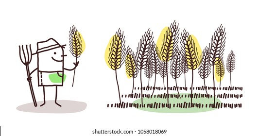 Cartoon Farmer and Wheat Field