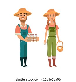 Cartoon farmers. Cheerful man and woman farm workers in jumpsuits, boots and straw hats. Man with moustache and beard holding a box of milk. Woman with ginger braids holding basket with eggs. Isolated