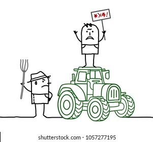 Cartoon Farmers Protesting Against Agriculture System