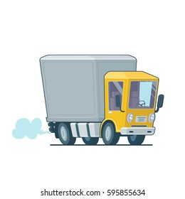Cartoon fast delivery truck icon isolated on white background. Vector illustration. Flat design.