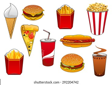 Cartoon fast food burger and cheeseburger, hot dog, pizza slice, french fries and popcorn in takeaway boxes, coffee and soda in paper cups, ice cream cone