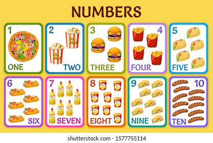 Cartoon fast food. Children cards numbers for kids. Learning to count. Isolated vector illustration.