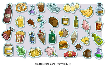 Cartoon fast food and drinks stickers. Pop art. Burger and soda. Beer and coffee. Ice cream and popcorn. Honey and cake. Bread and croissant. Fish and meat Vector icons big set.