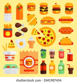 Cartoon fast food vector cuisine burger and pizza, drinks icons isolated on background restaurant tasty american cheeseburger meat and unhealthy fast-food burger meal illustration