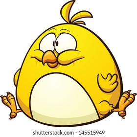 Cartoon fat chicken. Vector clip art illustration with simple gradients. All in a single layer.