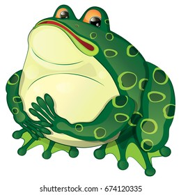 cartoon fat frog sits and looks