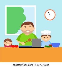 Cartoon father cooking with children in kitchen, family together, vector illustration.