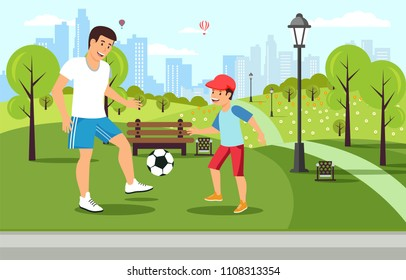 Cartoon father plays football with son in park and having fun. Vector father and son. Family recreation.