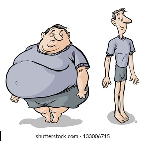Cartoon Fat-slim male characters.