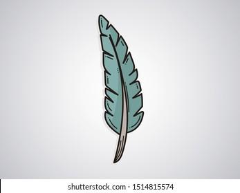 Cartoon Feather on white background