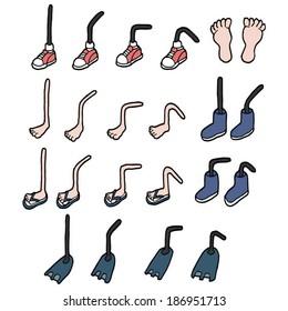 cartoon feet set