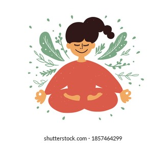 Cartoon female character meditating sitting in lotus pose. Smiling inspired girl with crossed legs flying in dreams closed eyes. Yoga, mindfulness, wellness. Woman in plant leaves. Vector illustration
