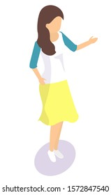 Cartoon female character template. Girl with brown hair wearing yellow skirt and white shirt with blue sleaves. Woman personage figure without face 3D vector