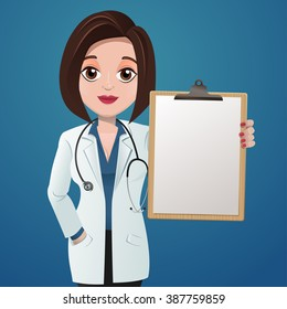 Cartoon female doctor holding a blank clipboard