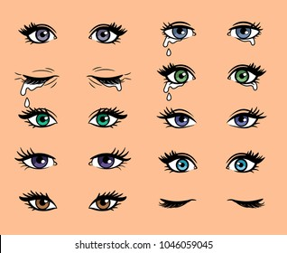 Cartoon female eyes. Colored vector closeup eyes of beautiful women for manga or pop art style