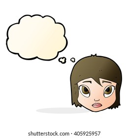 cartoon female face with thought bubble