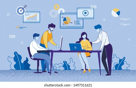Cartoon Female and Male Coworkers, Business Partners Characters Meeting at Office. Self Education Process. People Sitting at Laptop and Computer Monitor and Watching Tutorial. Vector Flat Illustration
