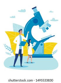 Cartoon Female and Male Doctor Characters with Clipboard Stand near Huge Microscope. Science Research Center, Smart Medical Laboratory, Diagnostic Service. Medicine and Healthcare. Vector Illustration