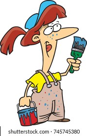 cartoon female painter in overalls holding a brush and bucket
