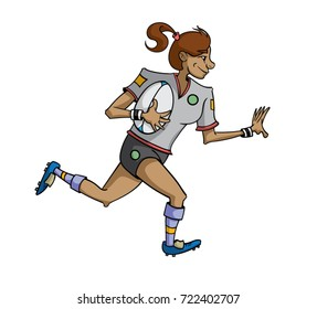 Cartoon female rugby player running with the ball