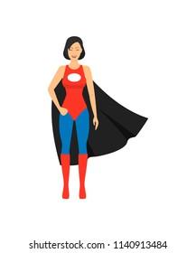 Cartoon Female Superhero Character Superheroine Concept Element Flat Design Style. Vector illustration of Icon Comic Girl Smart