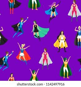 Cartoon Female Superhero Seamless Pattern Background Superheroine Concept Element Flat Design Style Different Types. Vector illustration of Comic Girl