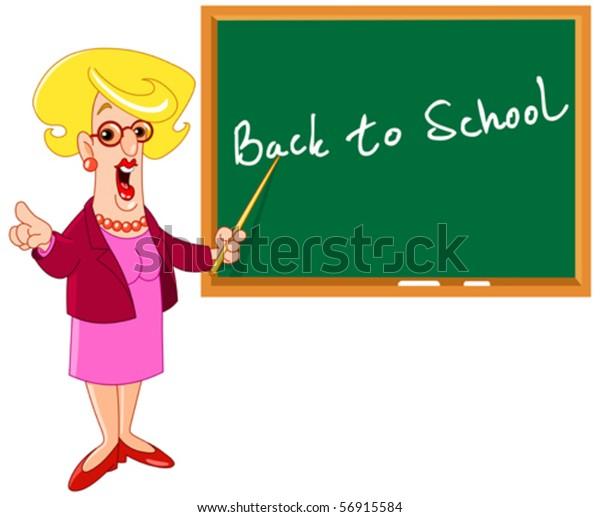 Cartoon female teacher pointing at back to school on a blackboard