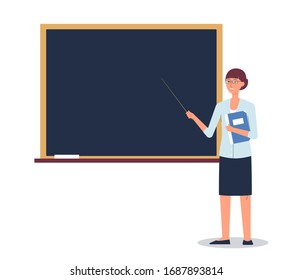 Cartoon female teacher standing by school chalkboard isolated on white background - woman pointing at blank board with pointer. Education message template - flat vector illustration
