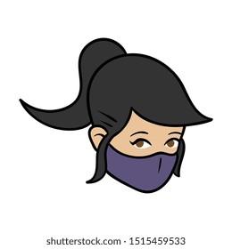 Cartoon Female Wearing Ninja Mask