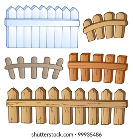 Cartoon fences collection - vector illustration.