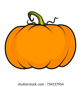 Cartoon festive vector pumpkin, isolated on white background