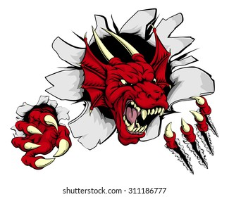 Cartoon fierce red dragon mascot animal character breaking through a wall
