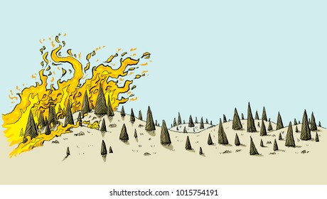 A cartoon of a fierce wildfire spreading over a dry, parched, drought-stricken landscape of evergreen trees on rolling hills.