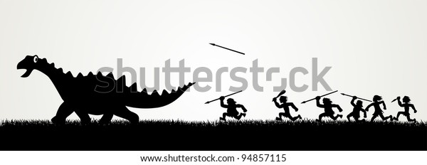 Cartoon figures chasing a dinosaur