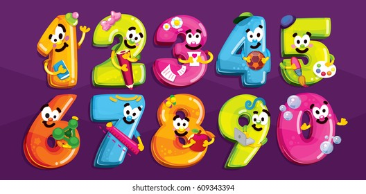 Cartoon figures. Smiling children's school characters numbers. Vector color figures with scenes of school life