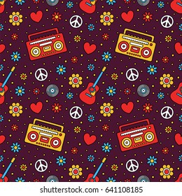 Cartoon Filled Outline Hand Drawn Flowers, Acoustic Guitar, Boombox, Vinyl Record, Peace Sign and Particles on Dark Background Vector Seamless Pattern