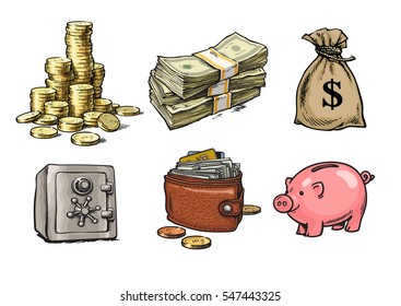 Cartoon finance, money, business set. Stack of coins, paper money, sack of dollars,safe, wallet, piggy bank, ,Hand drawn sketch style vector illustration isolated on white background.