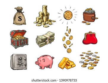 Cartoon finance money set. Sack of dollars, stack of coins, coin with dollar sign, treasure chest, stack of bills, falling coins, bank safe, piggy bank, gold bars, purse, wallet. Hand drawn vector.