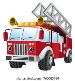 cartoon of fire department truck
